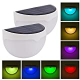 2 Pack RGB Solar Lámparas de Pared Exterior, Coquimbo de Color Estática/Cambio...