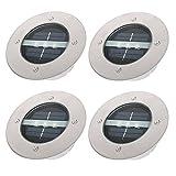 Kohree - Juego de 4 focos solares LED (acero inoxidable, 3 bombillas LED,...