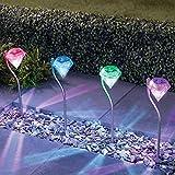 4 X Luz Solar Focos LED Exterior Jardin Decoracion, Resistentes a la Lluvia Con...
