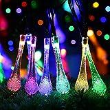 Cadena de luces LED Solar de gotas de agua, 20 pies 30 LED Luces, 4 colores,...