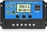 30A Controlador de Carga Solar 12V/24V Panel Solar Inteligente Regulador de...
