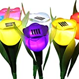 JUNFEI - Juego de 6 lámparas solares para Exteriores, Impermeables, Multicolor,...