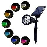 PowerKing Foco Solar Lámpara Exterior Proyector LED Foco Luz 7 Colores Cambia...
