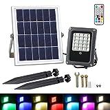 Luces Solares de Inundación de 20 LED, T-SUN Foco Solar Exterior con Mando a...