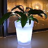 GFULLOV 1 pieza de maceta de plástico creativo con luz LED blanca para jardín,...