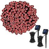 Koxly Guirnalda de luces solares de Navidad, 200 LED, 8 modos, funciona con...