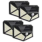 Yizhet Luz Solar Exterior, 4 Piezas 100 LED Foco Solar Exterior con Sensor de...