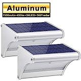 450lm 1500mAh 24 LED Luces Solares Exterior de Aluminio, Luz Solar IP65...