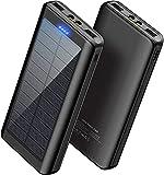 WBPINE - Cargador externo portátil solar de 30000 mAh, doble salida USB con...
