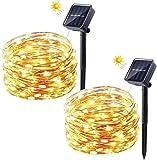 Guirnalda Luces Exterior Solare, FOCHEA 8M Cadena de Luces 50 Cristal Bombillas...