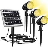 MEIKEE Foco Solar Jardin, LED Luces Solares Exteriores 3 en 1 Blanco Cálido...