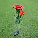 Quner - Luces de energía solar con diseño de flores, 2 rosas para exteriores,...