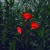 Rosas con luces solares LED para decoración de exteriores, Rojo
