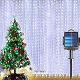 Cortina de luces solares, 2 x 2 m, 200 luces LED, funcionan con energía solar y...