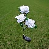 Quner - Luces de energía solar con diseño de flor de peonía para exteriores,...