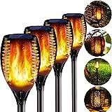 BIGFOX 4 Pcs Llama Luz Solar Exterior con Gancho, 3 in 1 Antorcha Solar Efecto...