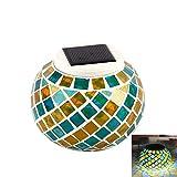 Luces solares de mosaico, impermeable con energía solar de cristal que cambia...