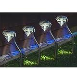 4 x vanz shop reloj Solar de acero inoxidable jardín de diamante de luz - LED...