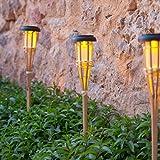 Lights4fun Conjunto de 2 antorchas LED solares de jardín de bambú de 58 cm