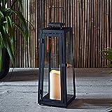 Lights4fun Farolillo Solar Metálico Grande de Vela LED para Jardín y...