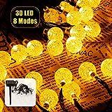 Cadena de Luces, Guirnalda de Luces Solar Exterior 8 Modos 6.5M 30 LED, Cristal...