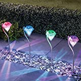 4 X Luces Solares Focos LED Luz Solar Exterior Jardin Decoracion, Resistentes a...