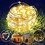 Cadena Solar de Luces, isimsus 17M Luces Solares 150 LED Exterior Alambre de...