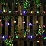 Guirnalda de luces solares para jardín con 50 flores LED para decoración de...